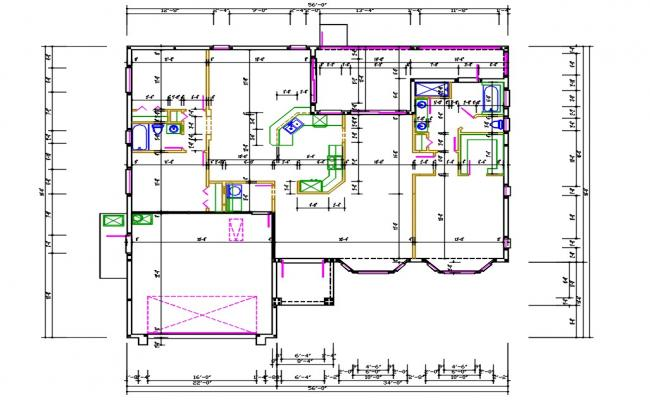 House Layout Plan With Dimension DWG File