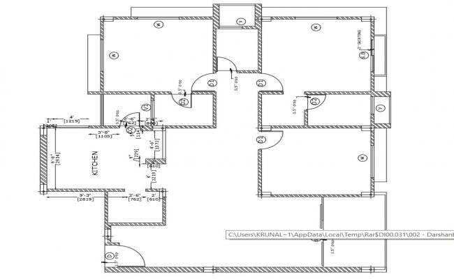House Layout Plans In AutoCAD Drawing
