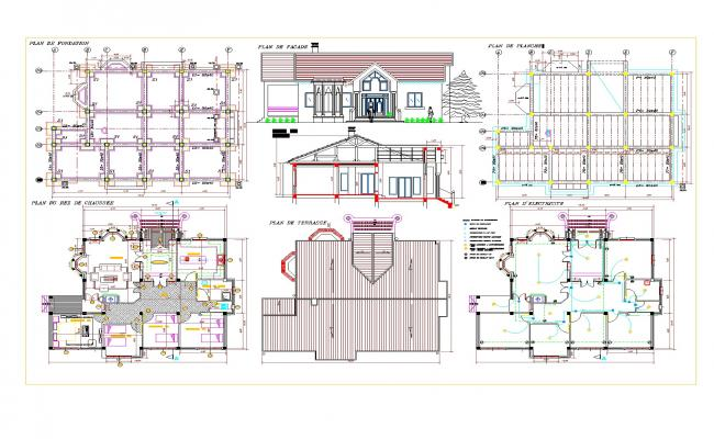 House Plan, elevation and section autocad file