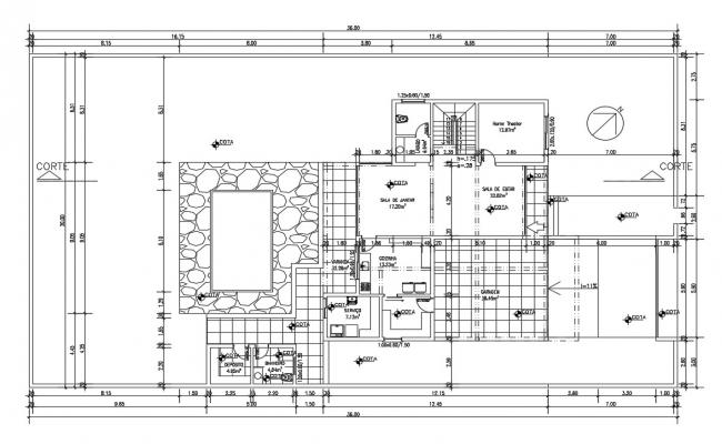 House Plan Drawing Free DWG File Download
