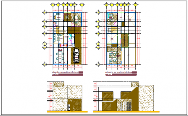 House Plan center line and elevation details dwg files