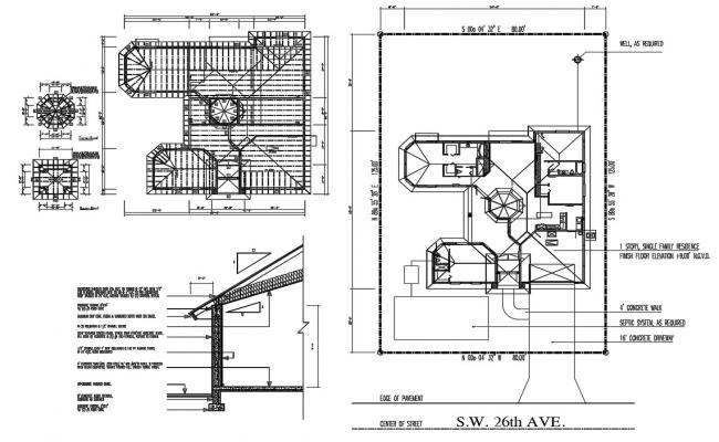 House Roof Construction Plan CAD File