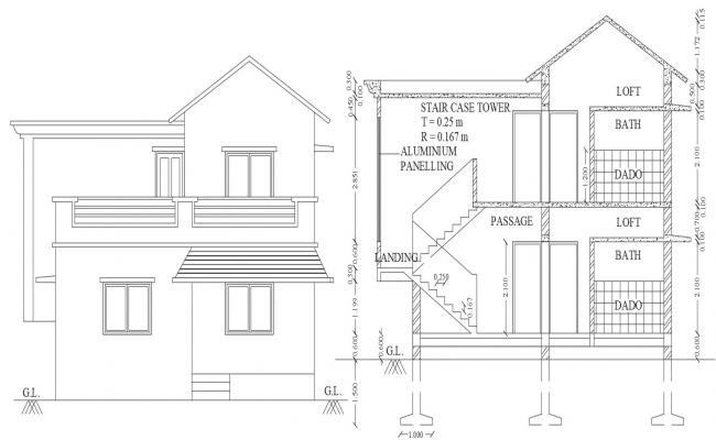 House Section And Elevation Design DWG File