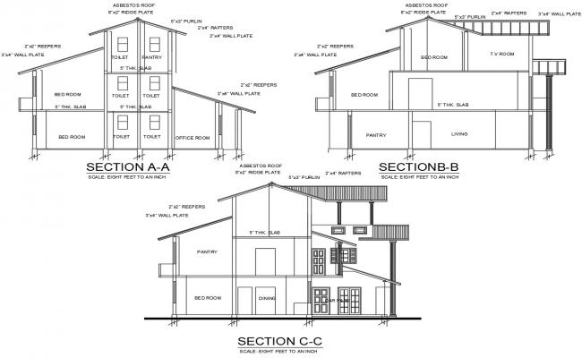 House Section AutoCAD Drawing