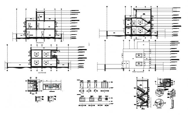 House Section Stair Design And Toilet Layout Plan AutoCADFile