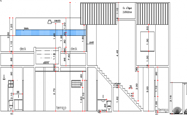 House With Pool on The Upper Floor Design and Section Details dwg file