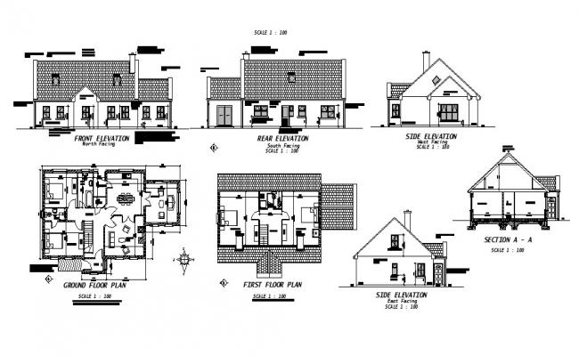 House all sided elevation, section, ground and first floor plan cad drawing details dwg file