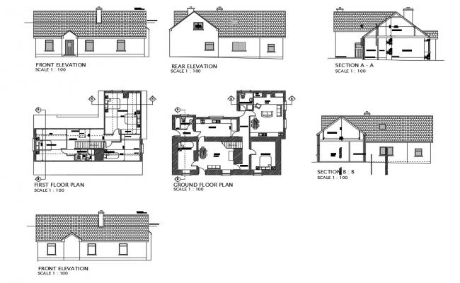 House all sided elevation, section and ground, and first floor plan details dwg file