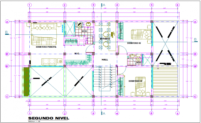 House architectural view with second floor plan dwg file