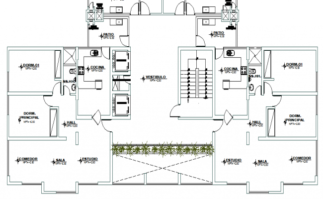 House Architecture Layout Plan Of Residential Building Dwg