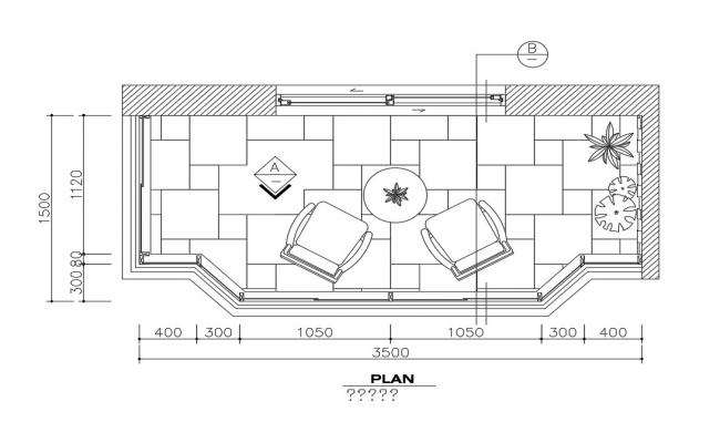 House balcony plan and furniture layout cad drawing details dwg file