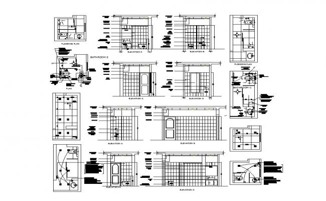 House bathroom elevation, section, plan and installation details dwg file