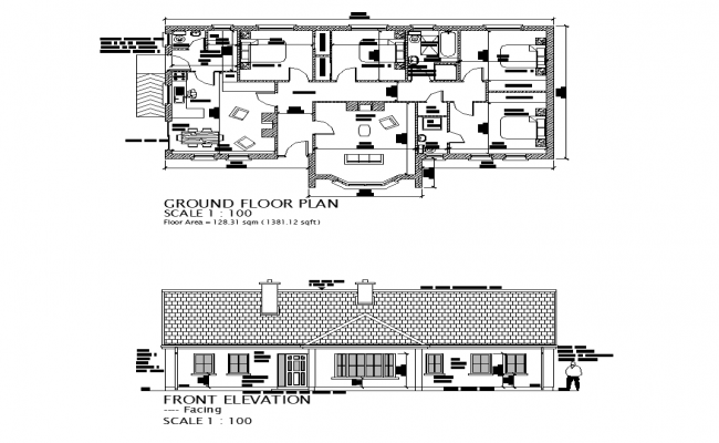 House building construction plan and elevation layout autocad file
