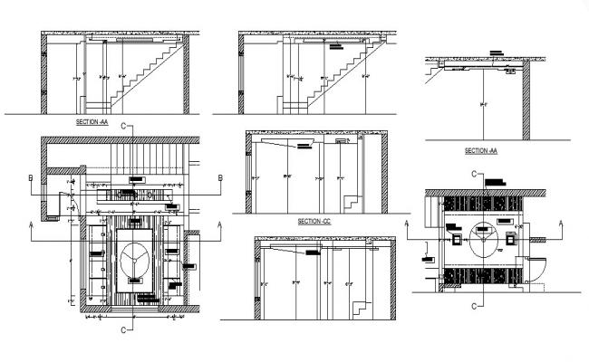 House constructive section, framing plan and auto-cad details dwg file