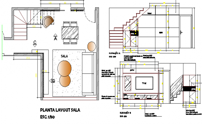 House cut sectional view with layout plan details dwg file