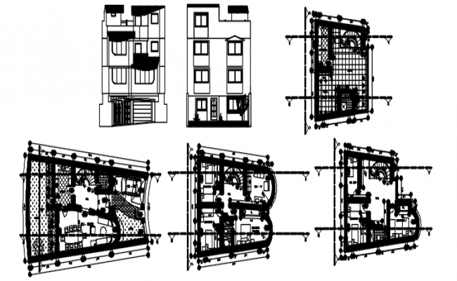 House design 17.10mtr x 6.23mtr with detail dimension in dwg file
