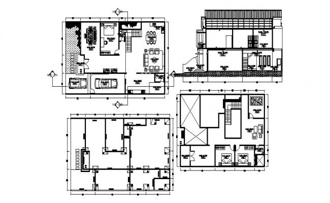 House design plan with interior design in autocad