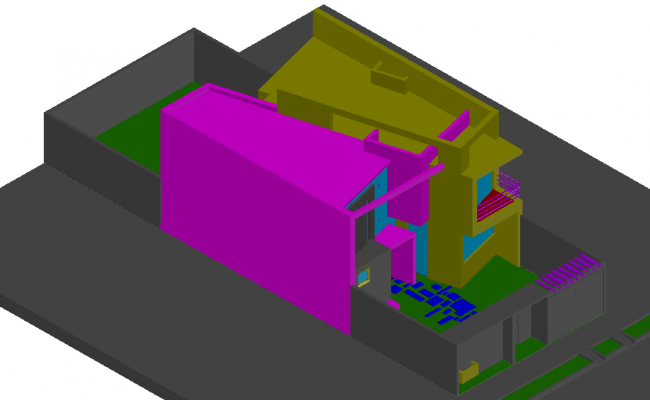 House design view in 3d dwg file