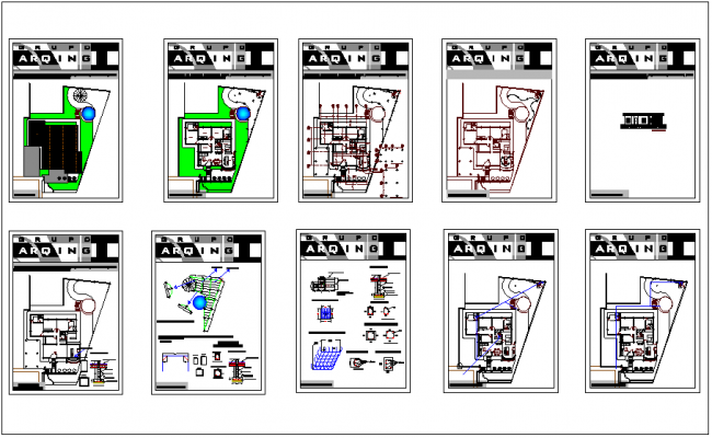 House design view with floor and ceiling plan view with structural plan view dwg file