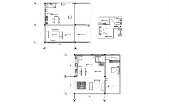 House design with detail dimension in DWG file