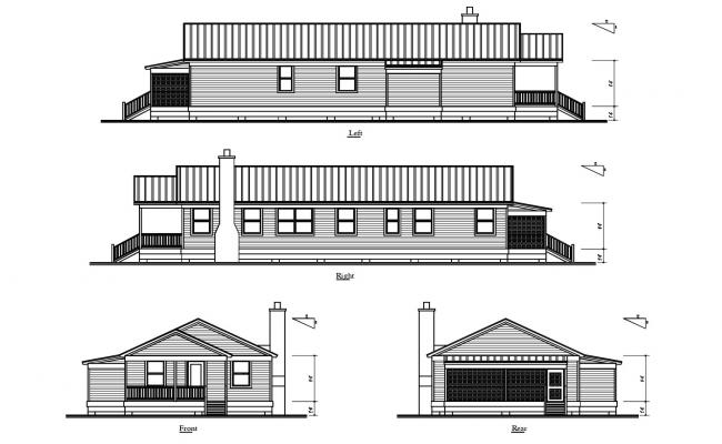 Bungalow Drawing In DWG File