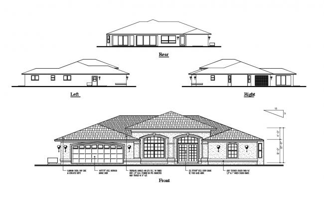 Single Floor House Elevation In DWG File