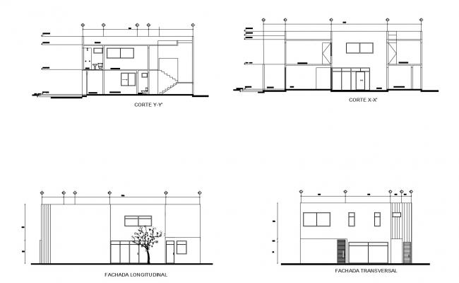 House design with elevation and section in dwg file