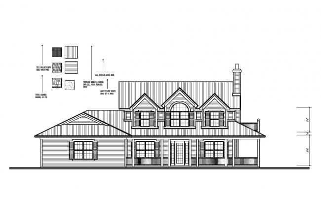 House Front Elevation Model In DWG File
