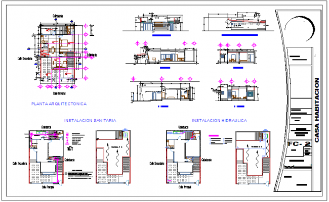 House design with sanitary and hydraulic detail