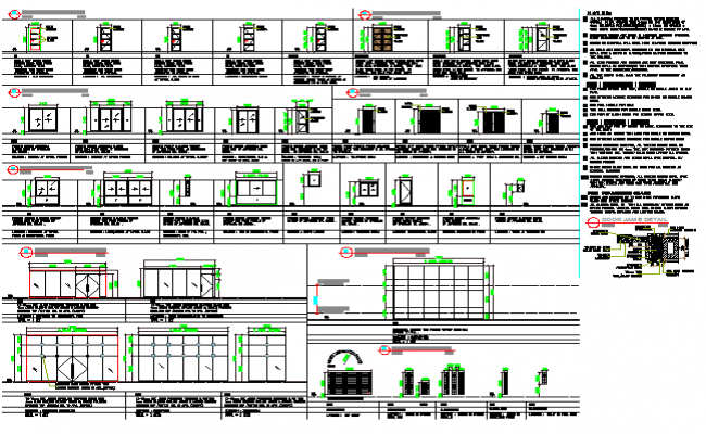 House doors and window installation details dwg file