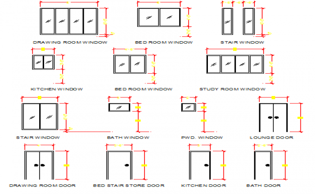 House doors and windows design details dwg file