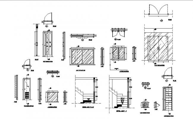 House doors and windows installation and staircase details dwg file