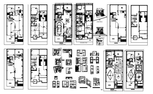 House drawing 6.70mtr x 11.43mtr with detail dimension in AutoCAD