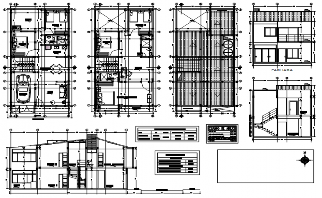 House drawing 7.00mtr x 14.00mtr with detail dimension in dwg file