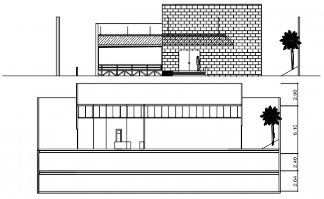 House drawing with elevation in dwg file
