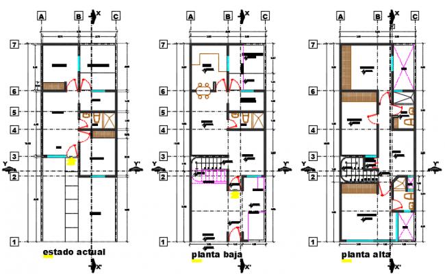 House duplex plan detail dwg file