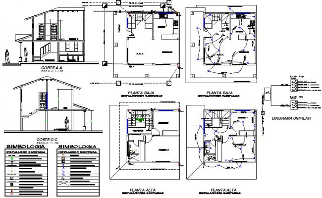 House electric plan detail dwg file