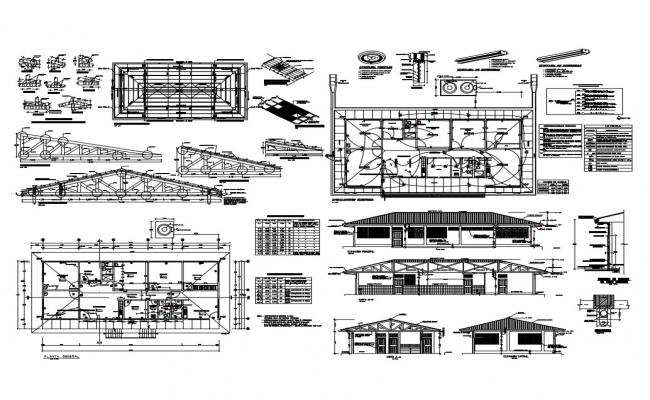 House elevation and constructive structure cad drawing details dwg file
