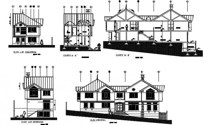 House elevation and section plan detail dwg file