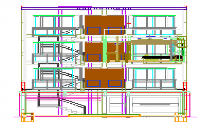 House elevation dwg file
