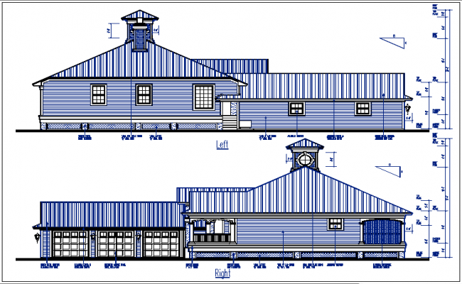 House elevation plan view detail dwg files