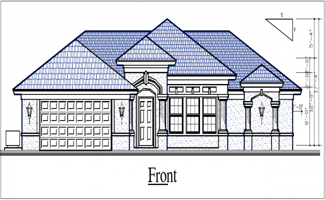 House elevation with design details dwg files