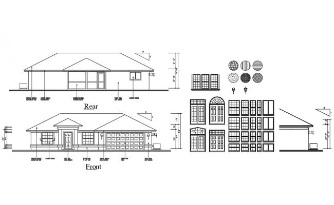 House facade and rear elevation and doors and windows blocks details dwg file