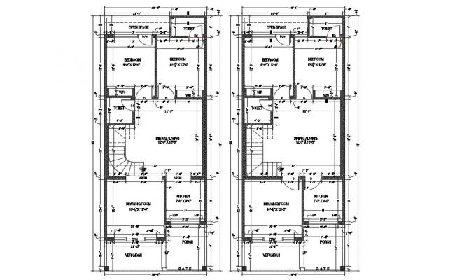House floor architecture layout plan cad drawing details dwg file