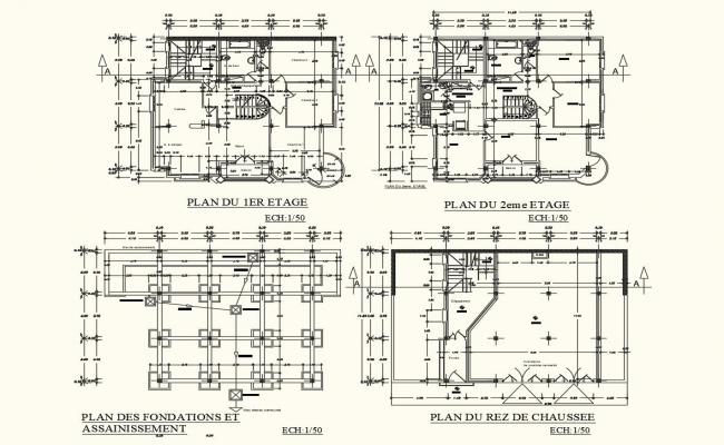 House floor plan with architecture view dwg file