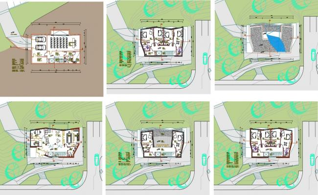 House floor plan with garden area view with architecture view dwg file