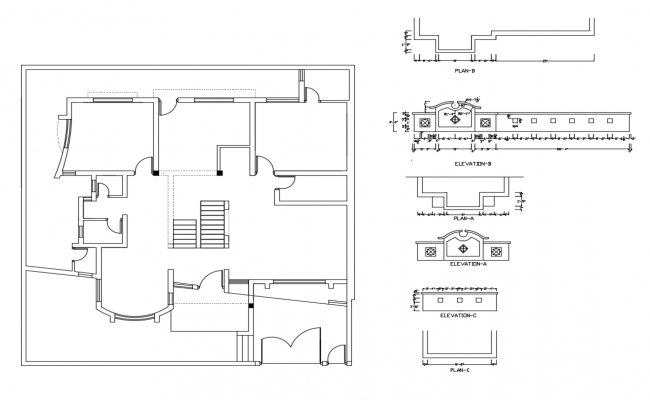 House framing plan and gate elevation and auto-cad details dwg file
