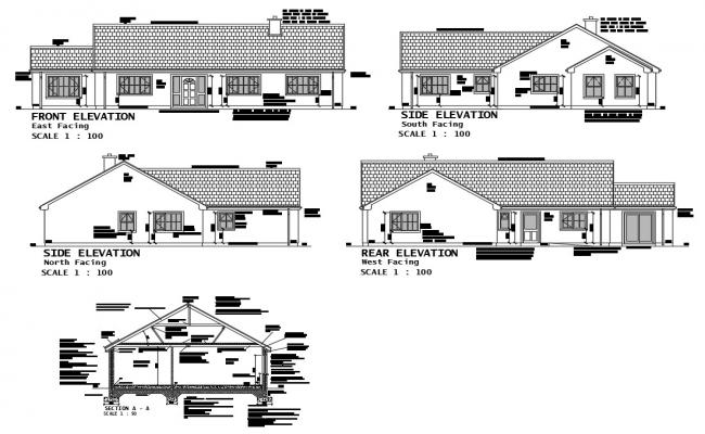 House front, side, rear elevation and main sectional details dwg file