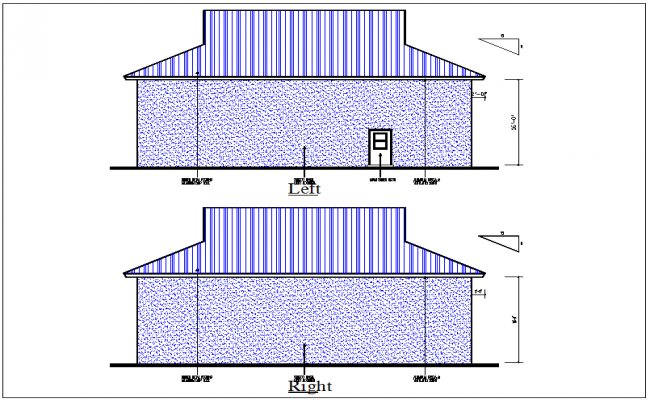 House front and rear elevation view detail dwg file