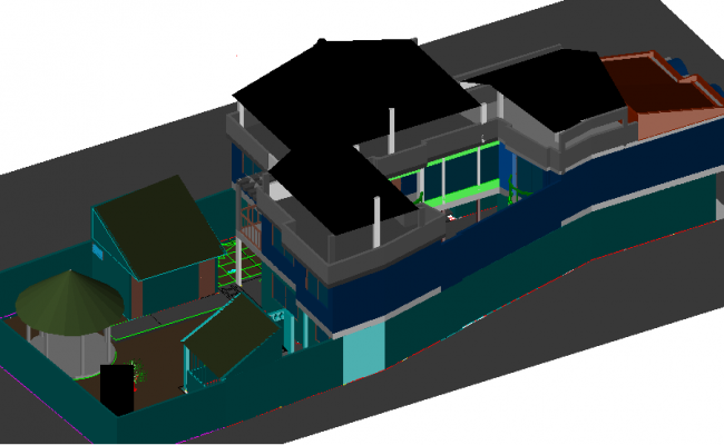 House in 3 D detail dwg file